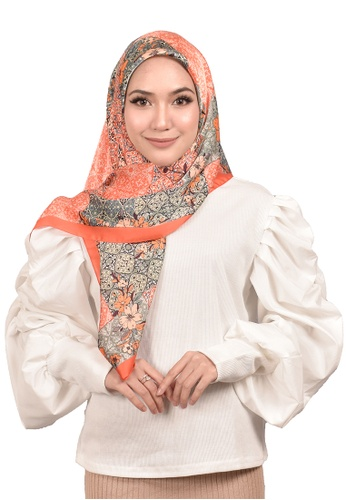 FATIMÉ brown and orange and blue Satin Square Hijab Malindo (Orange) D21B8AA009F7F6GS_1
