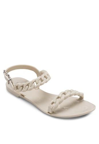 編esprit 會員卡織帶果凍平底涼鞋, 女鞋, 鞋