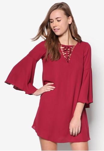 繫帶Vzalora 內衣 領喇叭袖連身裙, 服飾, 服飾