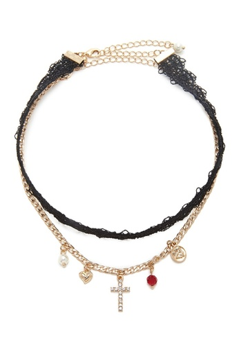 Kimberley black and red and gold Charm And Lace Choker Set KI026AC49QFIPH_1