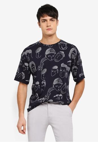 UniqTee navy Statement T-Shirt UN097AA0SYU9MY_1