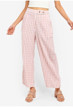 57ac7e05 TOPSHOP pink Gingham Beach Peg Trousers 7A1FCAAFE17433GS_1