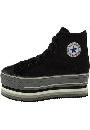 Maxstar 黑色 新款韩国鞋CN7時尚帆布布混合女黑色 US Women Size MA345SH80HFNTW_1