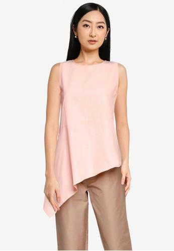 The Duo pink Asymmetrical Sleeveless Top 346F1AA5E20675GS_1