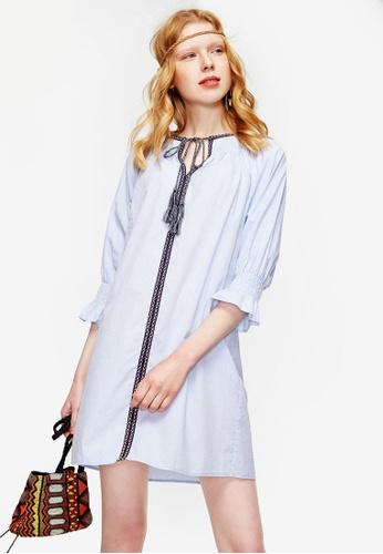 Hopeshow blue Ruffle Sleeve Dress with Tassels 4FB02AA7C05D2EGS_1