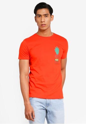 OVS 橘色 休閒印花T恤 F6606AA1AD3132GS_1