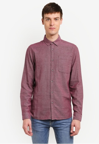 Topman red Burgundy Textured Shirt TO413AA0SHQQMY_1