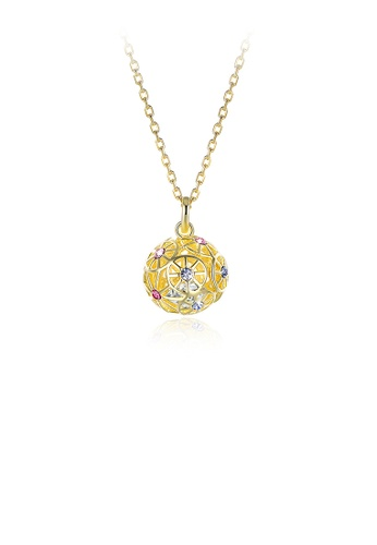 Glamorousky silver 925 Sterling Silver Plated Gold Fashion Hollow Sphere Pendant with Austrian Element Crystal and Necklace 5048EACD01D41FGS_1