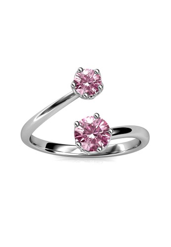 Her Jewellery silver Birth Stone Ring October Pink Tourmaline WG - Cincin Crystal Swarovski by Her Jewellery 1B5FFAC7A56EC2GS_1