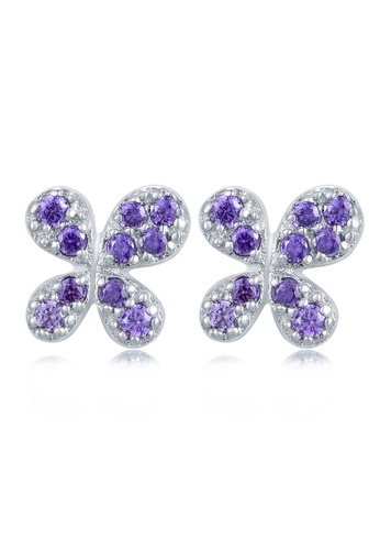 MBLife silver 925 Sterling Silver Purple Butterfly CZ Earrings BD9FCAC007AE88GS_1