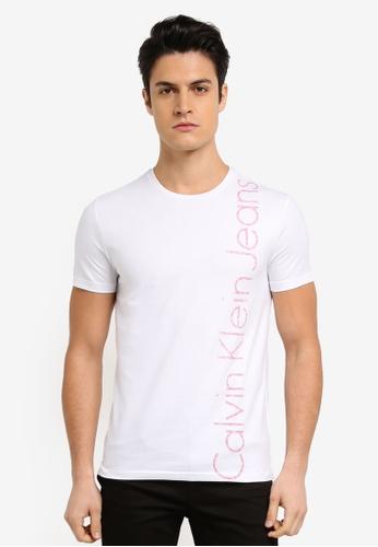 Calvin Klein white CKJ Vertical Logo Crew Neck Short Sleeve T-Shirt - Calvin Klein Jeans A393CAA093A791GS_1