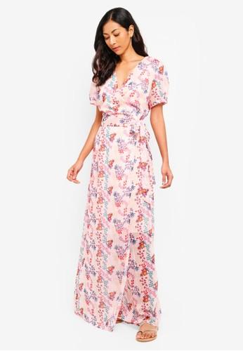 Glamorous pink and multi Tie Waist Wrap Maxi Dress AA655AA9FD47E4GS_1