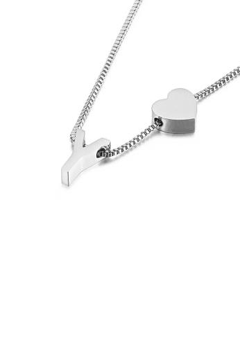Glamorousky 銀色 簡約時尚心形英文字母Y 316L鋼吊墜配項鏈 A2FFDACB1AD188GS_1