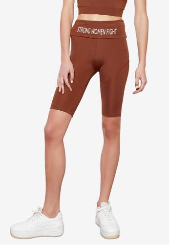 Trendyol brown Printed Biker Shorts 4C8BBAA0666690GS_1