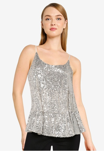 Dorothy Perkins silver Silver Tiered Sequin Camisole 1E677AAC584E38GS_1