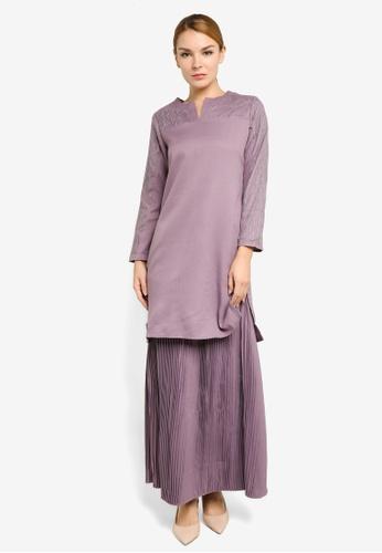 Gene Martino purple Lace and Pleats Kurung Modern 50AD8AA6CBDC24GS_1