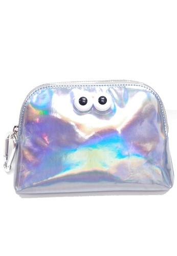 "My Flash Trash silver Happy Friday ""Look Look"" Hologram Cosmetic bag EF07BACC92347BGS_1"