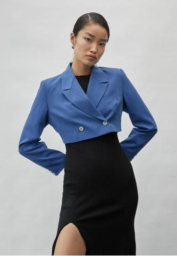 Pomelo blue Double Breasted Crop Blazer - Blue 0D018AA3FB2D48GS_1