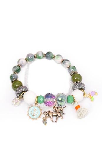 ASLLY green and silver Unicorn Garden│Dark Green Fringe Pendant Beaded Bracelet 61063AC1CBF3E3GS_1