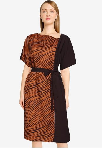 French Connection brown Rosalind Asymmetric Neck Dress FF8B8AA3908815GS_1