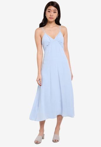 ZALORA blue Bustier Cami Fit & Flare Dress D5770AABCA3402GS_1