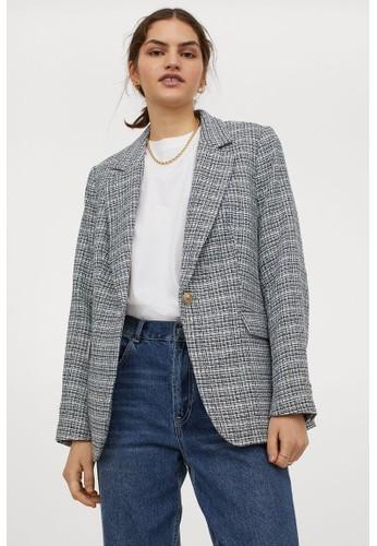 H&M black Bouclé blazer 1809EAA3974B80GS_1