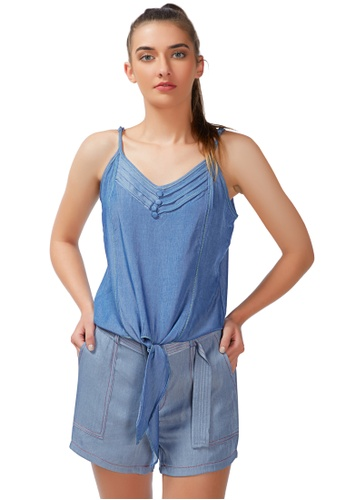 London Rag blue Lazy Day Off Tie - Down Cami Top in Blue D691BAAE20A22EGS_1