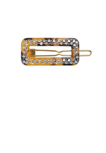 Glamorousky white Fashion and Simple Tortoiseshell Hollow Geometric Hair Clip with Cubic Zirconia 87C96AC2EFC674GS_1
