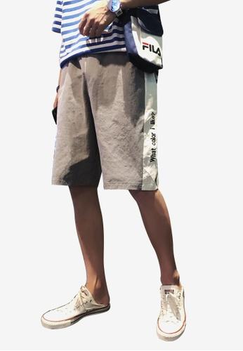 hk-ehunter grey Men Embroidery Mid Rise Shorts FD821AA1A5E37FGS_1