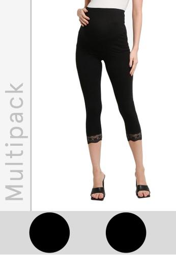 Mama.licious black Maternity Eliana Jersey Lace Leggings 2pack 9D84CAAE07477DGS_1