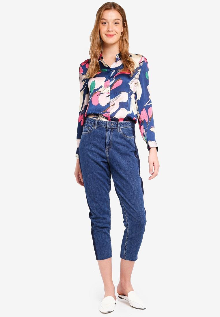 Woven Blue Blouse Long ESPRIT Sleeve Dark XgY4q0Ywd