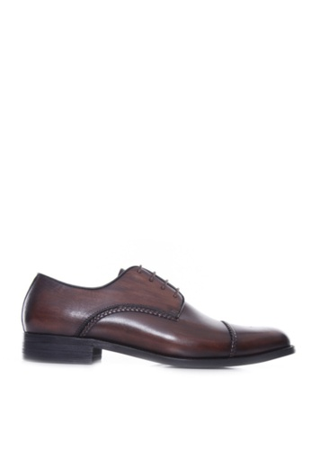 Zeve Shoes brown Zeve Shoes Derby Cap Toe - Dark Brown Braided Lace Up (Hand Painted Patina) A2422SH91BEE36GS_1