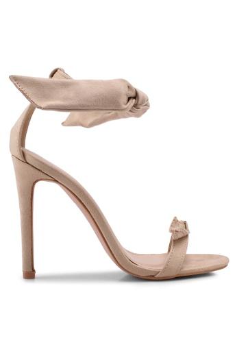 Public Desire 粉紅色 一字帶蝴蝶結繞踝高跟鞋 E51F4SH05E0054GS_1
