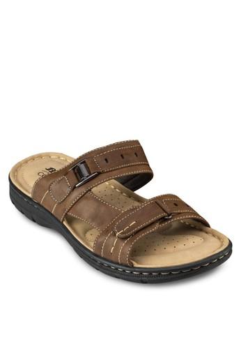 zalora 包包 pttSaly 仿皮雙帶厚底拖鞋, 鞋, 鞋