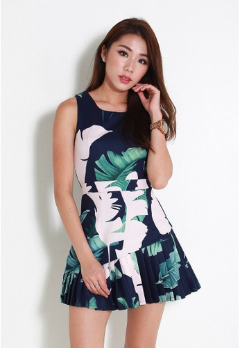 Leline Style blue Cilla Floral Pleats Dress LE802AA40WPJSG_1