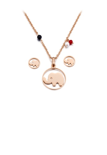 Glamorousky white Simple and Cute Plated Rose Gold Elephant Geometric Round 316L Stainless Steel Necklace and Stud Earring Set with Cubic Zirconia 5F2CCAC099490FGS_1