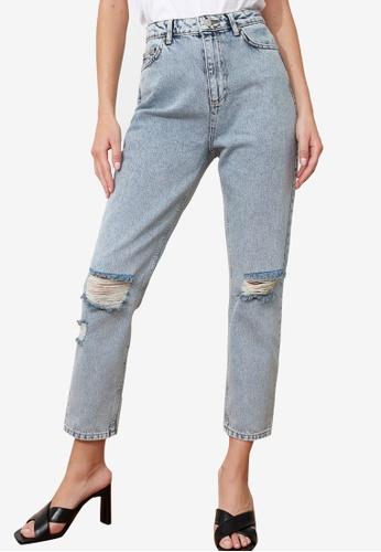 Trendyol blue Distressed High Waist Mom Jeans C2E25AA6F366DCGS_1