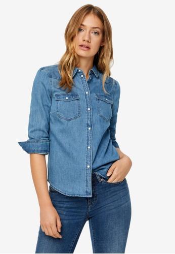 Vero Moda blue Maria Slim Shirt A4186AAE5569C3GS_1
