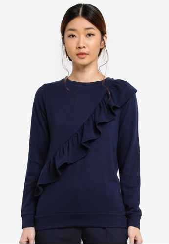Dorothy Perkins 海軍藍色 Frill Front Sweat Top 97C7EAA1599C71GS_1