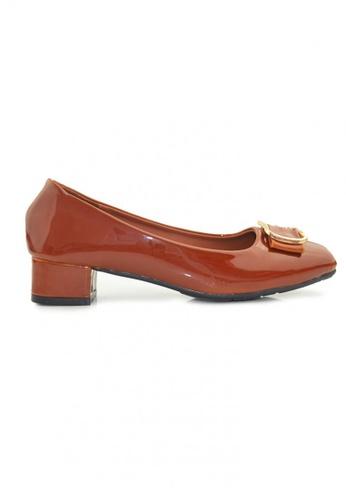 SHINE brown Square Toe Buckle  Embellished Block Heels SH554SH32ORZSG_1