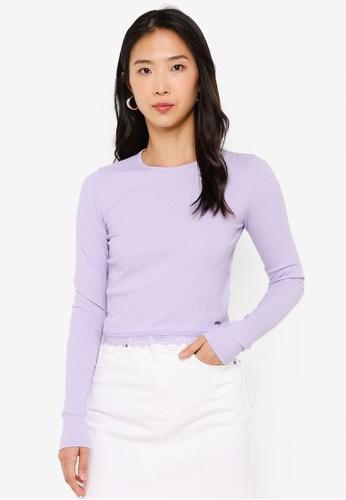 Hollister purple Long Sleeve Slim Lace Hem Top A49DAAA420DE19GS_1