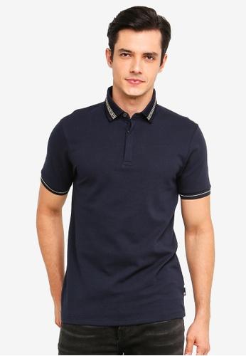 Burton Menswear London 海軍藍色 金屬感POLO衫 58AE5AAD290DD7GS_1