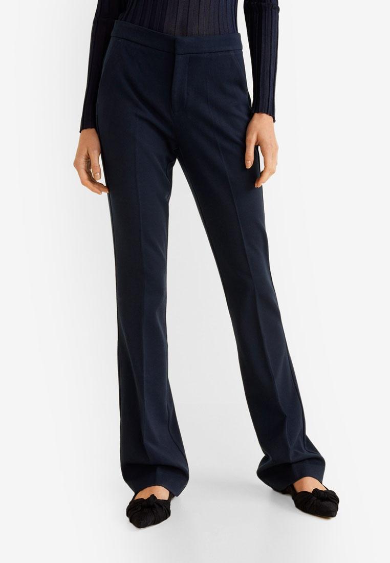 Trousers Navy Blend Flared Cotton Mango AqtBw