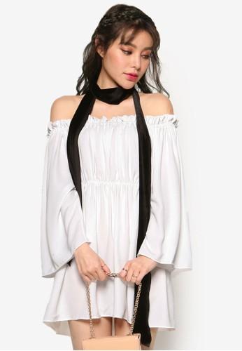 韓系時尚露肩腰飾zalora 手錶長袖洋裝, 服飾, 洋裝
