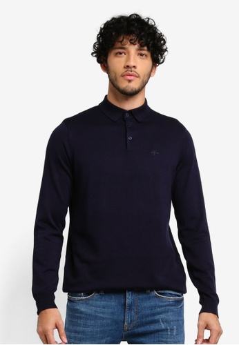 River Island navy Slim Fit Long Sleeve Knitted Polo Shirt 70987AAF3676E5GS_1