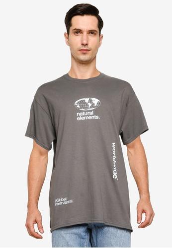 Topman grey Charcoal Grey Worldwide Print T-Shirt D98ADAA59A47D9GS_1