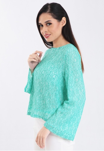 36335386cb32 ZONA green Long Sleeve Lace Blouse 412EAAA134BBB0GS 1