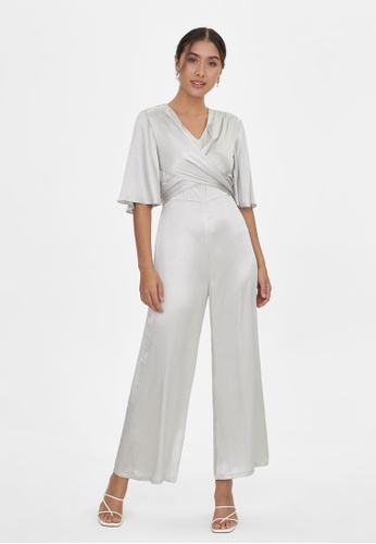Pomelo grey Bat Sleeves Surplice Jumpsuit - Light Grey F1322AAA7DA4ADGS_1