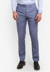 Topman blue Light Blue Crosshatch Skinny Suit Pants TO413AA0S5LXMY_1