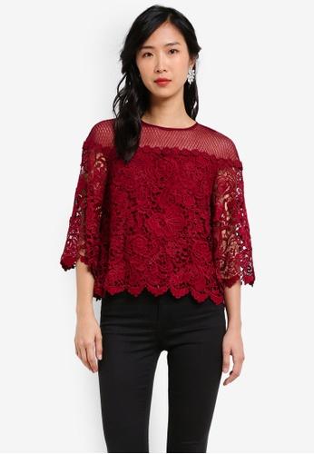 ZALORA red Crochet Lace Mesh Top 43309AA18E1FFCGS_1